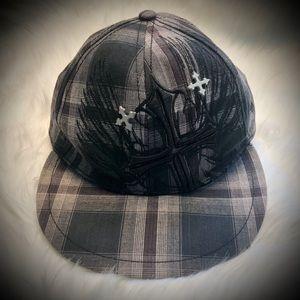 Explicit Black Plaid Hat w/Metal Crosses